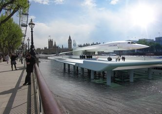 Conceptual photo of Concorde as viewed from South Bank