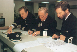 In the Briefing/Operations Room the flightcrew make initial checks on fuel, flight plan and weather