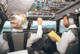 The Captain and Co-pilot (with checklist) complete the After Start Check List