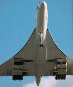 Concorde in the landing configuration: attitude 11°, airspeed 160kt.