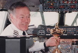 Captain W.D. (Jock) Lowe brings home the Ryder Cup