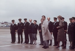 Captain Dave Leney and his crew are introduced to HRH Prince of Wales and HRH Princess Diana